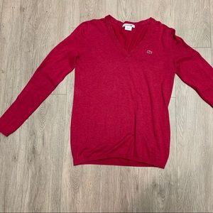 Lacoste pink v neck sweater size 38 medium